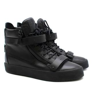 Giuseppe Zanotti Black Double Strap Hi-Top Trainers
