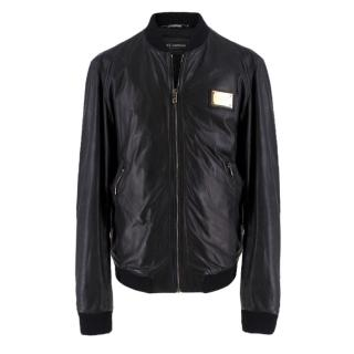 Dolce & Gabanna Black Lambskin Leather Bomber Jacket
