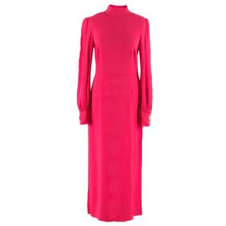 Giles fuschia-pink high-neck dress