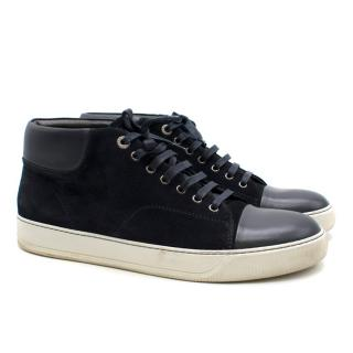 Lanvin navy suede & leather high-top trainers
