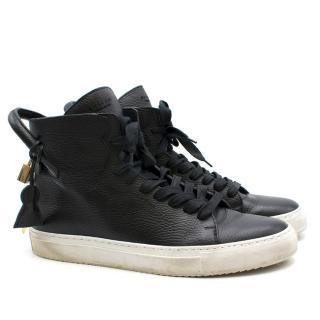 Buscemi Cavallino black leather high-top trainers