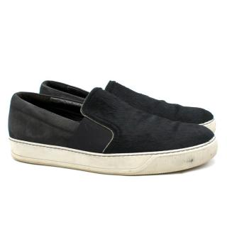 Lanvin Black Textured Calf-Hair Slip-On Trainers