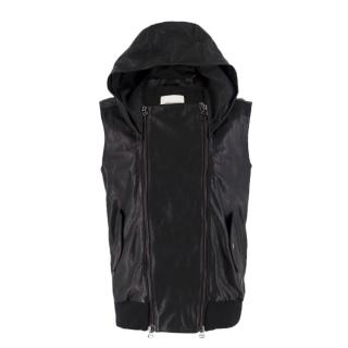 Pierre Balmain Black Sleeveless Leather Jacket