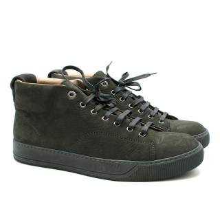 Lanvin forest-green nubuck mid-top trainers