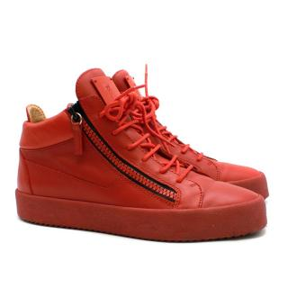 Giuseppe Zanotti Red Leather London High-Top Trainers