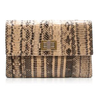 Anya Hindmarch Beige Python Valorie Clutch Bag