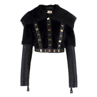 Temperley studded shearling & leather cropped jacket