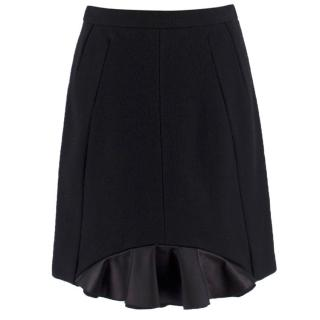 Miu Miu Black Wool Blend Fluted Silk Hem Skirt