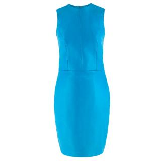 Philip Armstrong electric-blue sleeveless leather dress