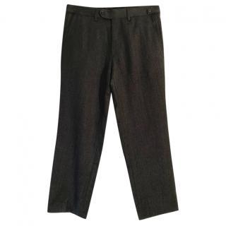 Boss Hugo Boss virgin wool charcoal pinstripe wide leg trousers