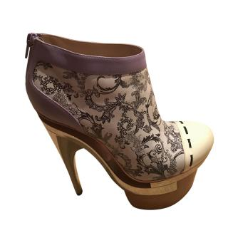 Versace Painted Style Platform Ankle Boots