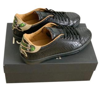 Roberto Cavalli Black Python Leather Embroidered Shoes
