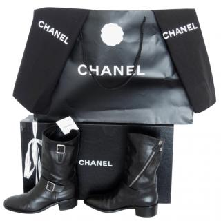 Chanel black leather biker boots