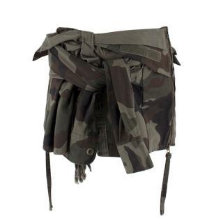 Faith Connexion camouflage-print tie-waist mini skirt