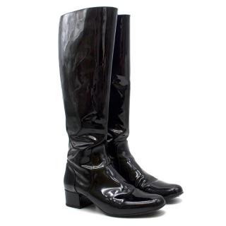 Saint Laurent Black Patent Leather Knee Boots