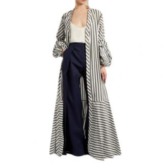Johanna Ortiz Ruched-Sleeve Striped Stretch Cotton Coat