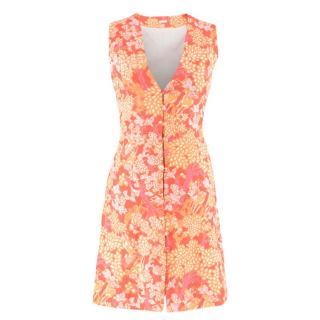 Cult Gaia Floral Print A-Line Buttoned Dress