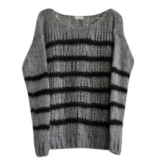 Saint Laurent striped open knit jumper