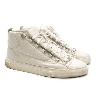 Balenciaga Arena white high-top leather trainers