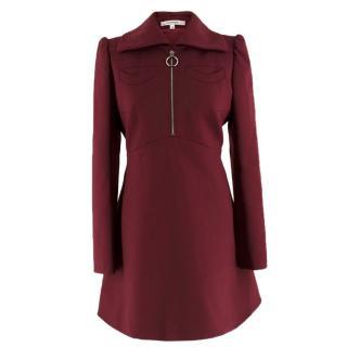 Carven Burgundy Zip-Front Dress