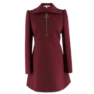 Carven Burgundy Zip-Front Dress