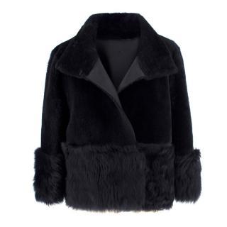 Tory Burch navy shearling jacket