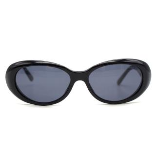 Chanel Black Oval Shaped Sunglasses