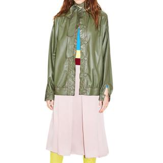 Mafalda Von Hessen tie-neck green leather shirt