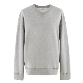 Valentino Rockstud-embellished cotton-blend sweatshirt