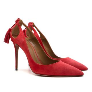 Aquazzura Red Forever Marilyn Suede Heels