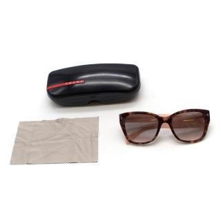 Prada Pink Tortoiseshell Square-Frame Sunglasses