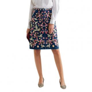 Needle & Thread Wild Flower Embroidered Denim Skirt