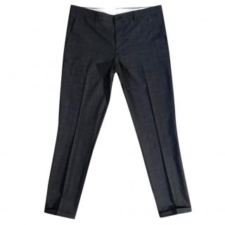 PS Paul Smith navy wool & silk blend tweed finish tapered trousers