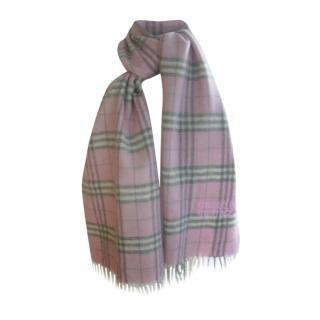 Emmanuelle Khahn Pink Tartan Plaid Wool Scarf