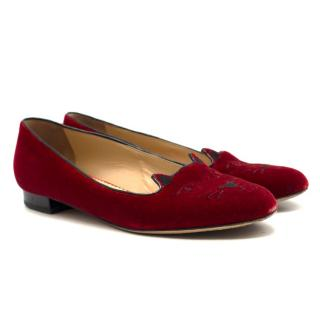 Charlotte Olympia Kitty red velvet flat pumps