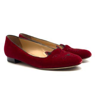 Charlotte Olympia Kitty red velvet flat pumps