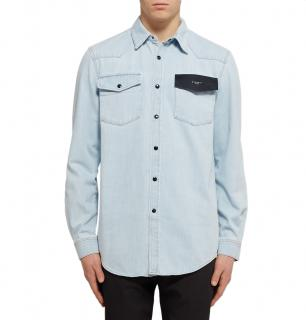 Givenchy Cuban Fit Leather-Trimmed Denim Shirt