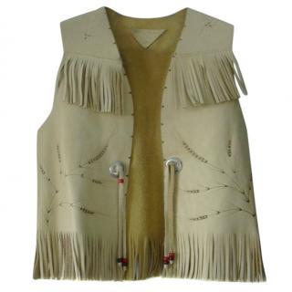 Du Sault Children's Leather Fringe Trim Cowboy Gilet