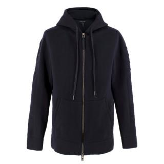 Helmut Lang navy zip-through hooded neoprene sweatshirt