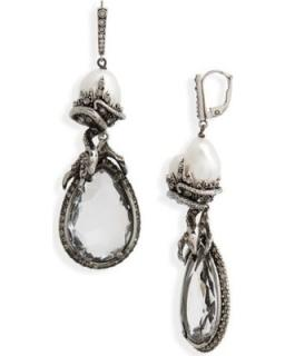 Alexander McQueen Antique Silver Tone Crystal Pearl Skull Drop Earring