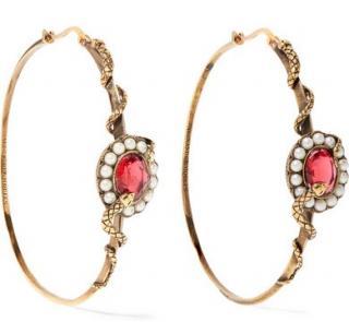 Alexander McQueen Gold Tone Crystal Pearl Hoop Earrings