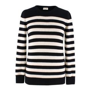 Saint Laurent Black & White Striped Cashmere Sweater