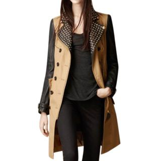 Burberry Brit Studded Leather Sleeve Trench