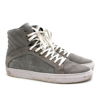 Android Homme grey woven-suede high-top trainers