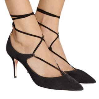 Aquazzura Black Suede Christy Lace-up Pumps