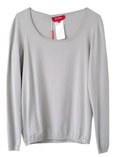 Max Mara Studio Dove grey silky knit long sleeve jumper