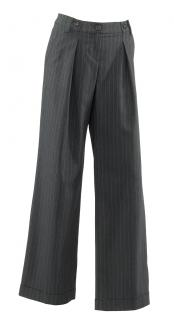 Love Moschino charcoal grey & teal pinstripe wide leg trousers