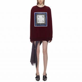 Self-Portrait logo-print burgundy cotton sweatshirt