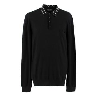 Dolce & Gabbana long-sleeved silk-knit polo shirt