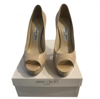 Jimmy Choo Patent Nude Peep Toe Pumps